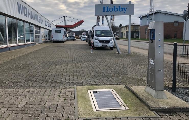 Entsorgungsstation auf Betriebsgelände von Wohnwagen Gutbier